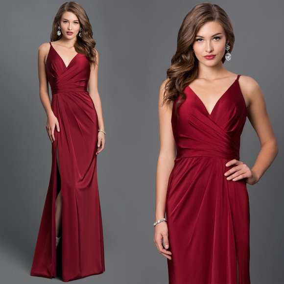 e7d343dbe9f Faviana Dresses   Skirts - Faviana V-Neck Ruched Open Back Long Prom Dress  00
